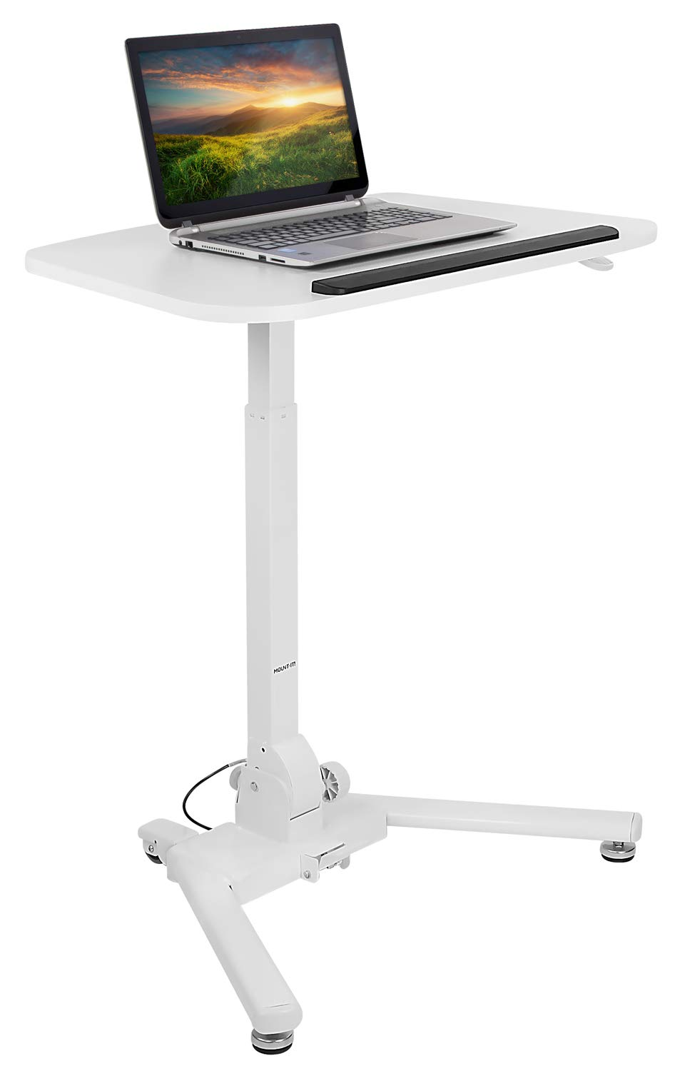 Mount-It! Standing Folding Laptop Cart, Sit Stand Mobile Desk with Height Adjustable 31.1'' x 20.5'' Platform, Supports up to 17.6 lbs, White (MI-7949) by Mount-It! (Image #2)