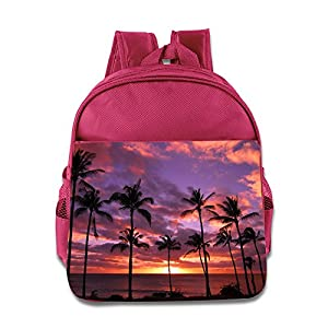 Palm Tree Sunset Kids Backpack Boys Girls School Bag(two Colors:pink Blue) Pink