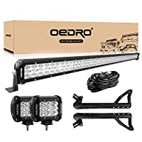 LED Light Bar OEDRO 52 Inch 513W Tri-row Combo Beam + 2PCs 4 Inch 27W Off Road Driving Light Pod + Wiring Harness + Upper Roof Windshield Mounting Bracket Fit for Jeep JK Wrangler