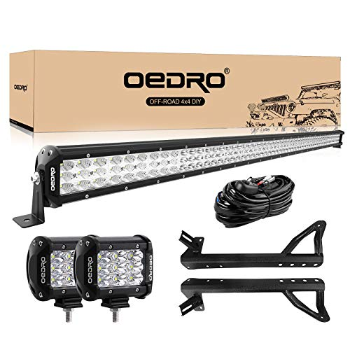 LED Light Bar OEDRO 52 Inch 758W Tri-row Combo Beam + 2PCs 4 Inch 27W Tri-row Combo Beam Off Road Driving Light Pod + Wiring Harness + Upper Roof Windshield Mounting Bracket Fit for Jeep JK Wrangler
