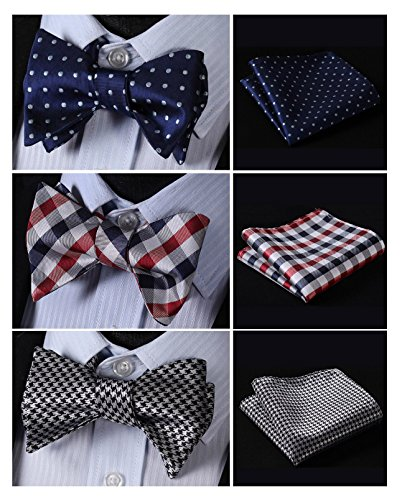 HISDERN 3pcs Mixed Design Classic Men's Self-Tie Bow tie & Pocket Square - Multiple Sets,B3-05,One Size