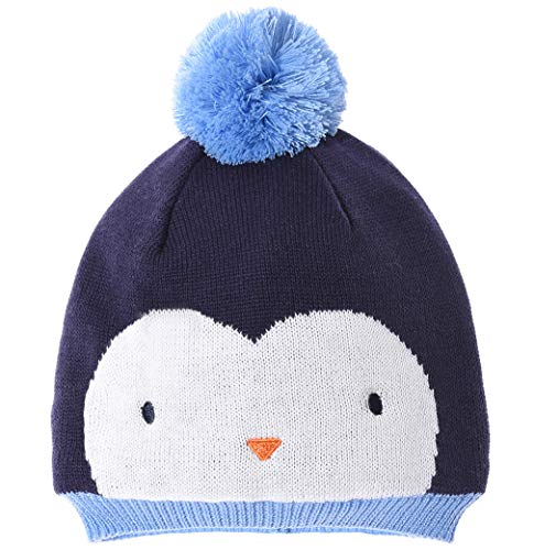 Eriso Unisex Baby Striped Bear Cap Soft Knitted Beanie Newborn Hat (9-12 Months, Blue Penguin Fleece Lining)