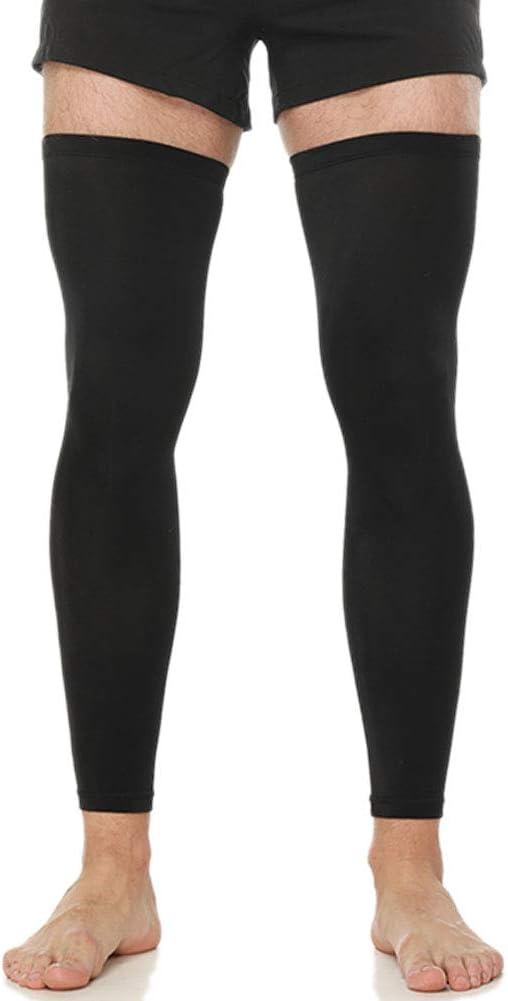 N'joy MAKLULU Compression Leg Sleeves, 1 Pair for Men, Women - Full Length Stretch Long Sleeve, Non-Slip Inner Bands (Black,White)
