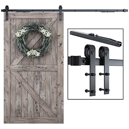 8FT Soft Close Heavy Duty Sturdy Sliding Barn Door Hardware Kit - Simple and Easy to Install - Includes Step-by-Step Installation Instruction - Fit 42- 48 Door Panel (J Shape Hangers)