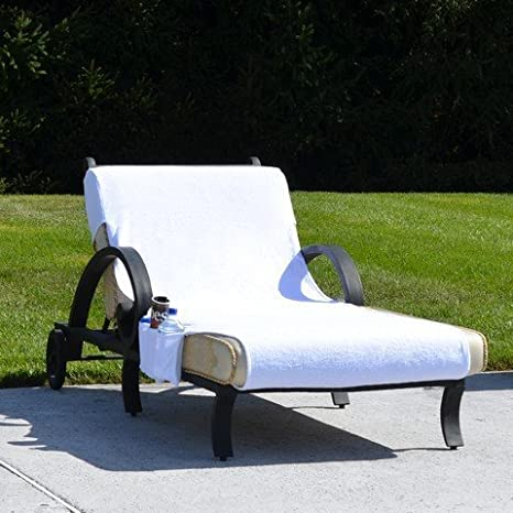 102 L x 32 W, Linum Home Textiles CL00-SWP Standard Size Chaise Lounge Cover with Side Pockets-White