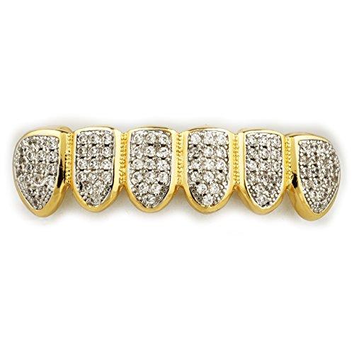 [18K Gold Plated CZ Vampire Dracula Fangs Top Bottom Rhodium GRILLZ Teeth Gril...] (Dracula Teeth)