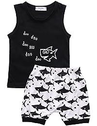 Juicart Baby Boys Girl's Summer Cotton Sleeveless Outfits Set Tops+Pants