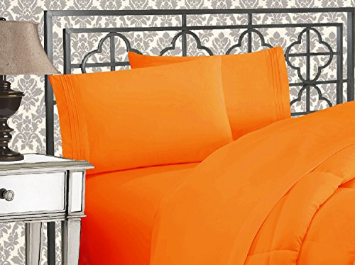 Elegant Comfort Luxurious & Softest 1500 Thread Count Egyptian Three Line Embroidered Softest Premium Hotel Quality 4-Piece Bed Sheet Set, Wrinkle and Fade Resistant, Queen, Orange (Orange Bedroom Set)