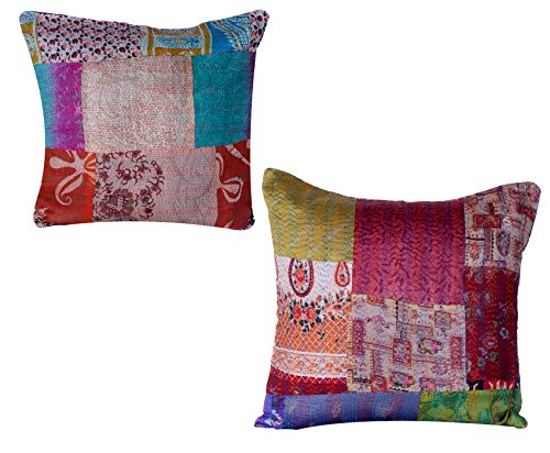 Indistar Set of 2 Throw Pillow Cover | Silk Patchwork Cushion Covers with Traditional Indian Kantha Work | Decorative Cushion Covers, 18 x 18 Inch-Assorted Color/Print