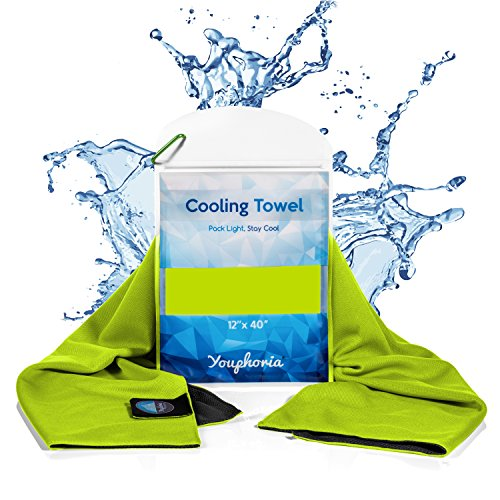 Youphoria Cooling Towel - a Perfect Cooling Towel for Hot Weather, Over Heating, Sports, and Fatigue - Waterproof Carry Case Included - 1PK - Green