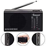 AM FM Portable Radio // Pocket Radios - Best Reception, Small Battery Operated Cordless Personal Transistor, Loud Built-in Speaker, 3.5mm Mono Headphone Jack - Powered 2 AA Batteries (Black)