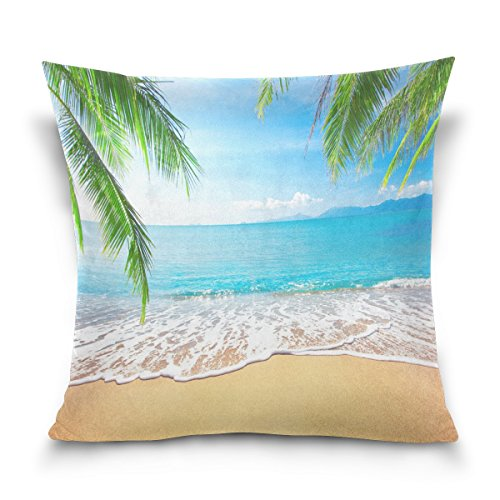 ALAZA Tropical Beach Palm Tree Leaves Cotton Pillowcase 18 X 18 Inches Twin Sides, Ocean Sea Waves Scene Pillow Case Sham Cover Protector Decorative for Home Hotel Couch Ded (Palm Side Case)