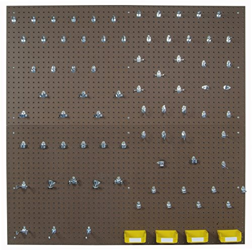 Triton Products TPB2-83 Two Tempered Wood Pegboards 24 Inch W x 48 Inch H x 1/4 Inch D with 79 pc. DuraHook Assortment, 4 Hanging Bins & Wall Mounting Hardware (2 Box Set)