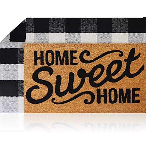 Sierra Concepts Welcome Mat Outdoor Front Door Mats Spring 30 Inch x 17 Inch + Buffalo Plaid Rug Checkered Layered Black…