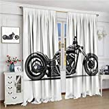 GUUVOR Manly Decor Premium Blackout Curtains Custom Made Motorcycle Expensive Horsepower Adventurous Masculine Vehicle Kindergarten Noise Reduction Curtains W72 x L108 Inch