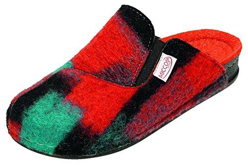 MICCOS Shoes Hausschuhe D.Pantoffel orange/petrol/komb.