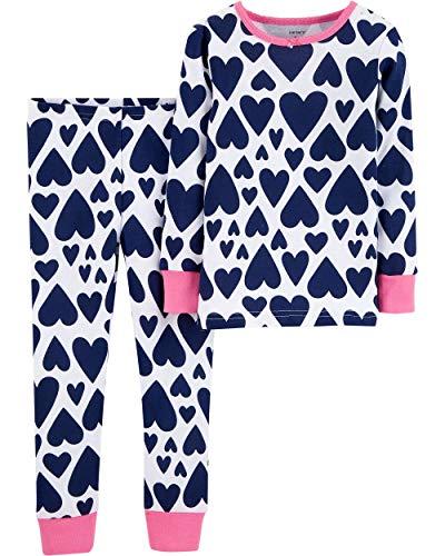 Carter's Little Girls' 2 Piece Snug Fit Cotton Pajama Sets, Navy Hearts, 12 Months