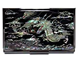 Dragon Black Business Credit Card Case Id Holder Metal Travel Wallet Mother of Pearl