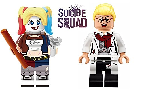 Comic Hero DC Building Blocks Harley Quinn and Harleen Quinzel Custom Made Minifigure Set with Mini Figure Stands Suicide Squad Design Action Minifigures (Harley Quinn)