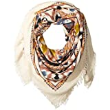 La Fiorentina Women's Oversized Aztec Scarf with Fray Ends, Ivory/Brown/Denim Blue/Multi, One Size