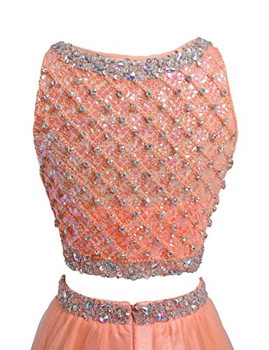 SeasonMall Women's Prom Dress Two Pieces Bateau Beaded Bodice Tulle Dresses Size 6 US Orange by SeasonMall (Image #3)