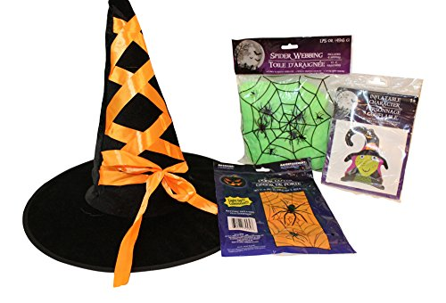 4 Pc Halloween Photo Prop bundle: Spider Web Light Up background, Inflatable Witch, Neon Spiderweb with spiders, Witch Hat (Neon Witch)