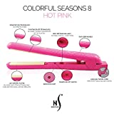 Herstyler Colorful Seasons Ceramic Flat Iron, Dual Voltage, 1.25 Inch, Pink