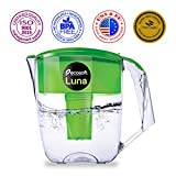 Ecosoft Water Filter Pitcher - Water Dispenser and Purifier Countertop Filtration Jug for Kitchen Home with Extra Cartridge Replacement - Green