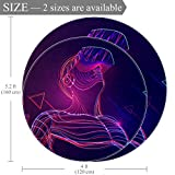 Round Area Rug Abstract Vr World with Neon Lines