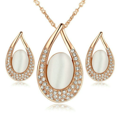 Yoursfs Opal Teardrop Pendant Necklace and Dangle Earrings Set 18k Rose Gold Plated Wedding Jewelry For Women