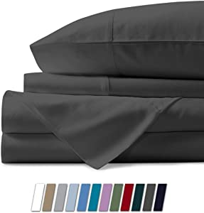 Mayfair Linen 100% Egyptian Cotton Sheets, Dark Grey King Sheets Set, 800 Thread Count Long Staple Cotton, Sateen Weave for Soft and Silky Feel, Fits Mattress Upto 18'' DEEP Pocket