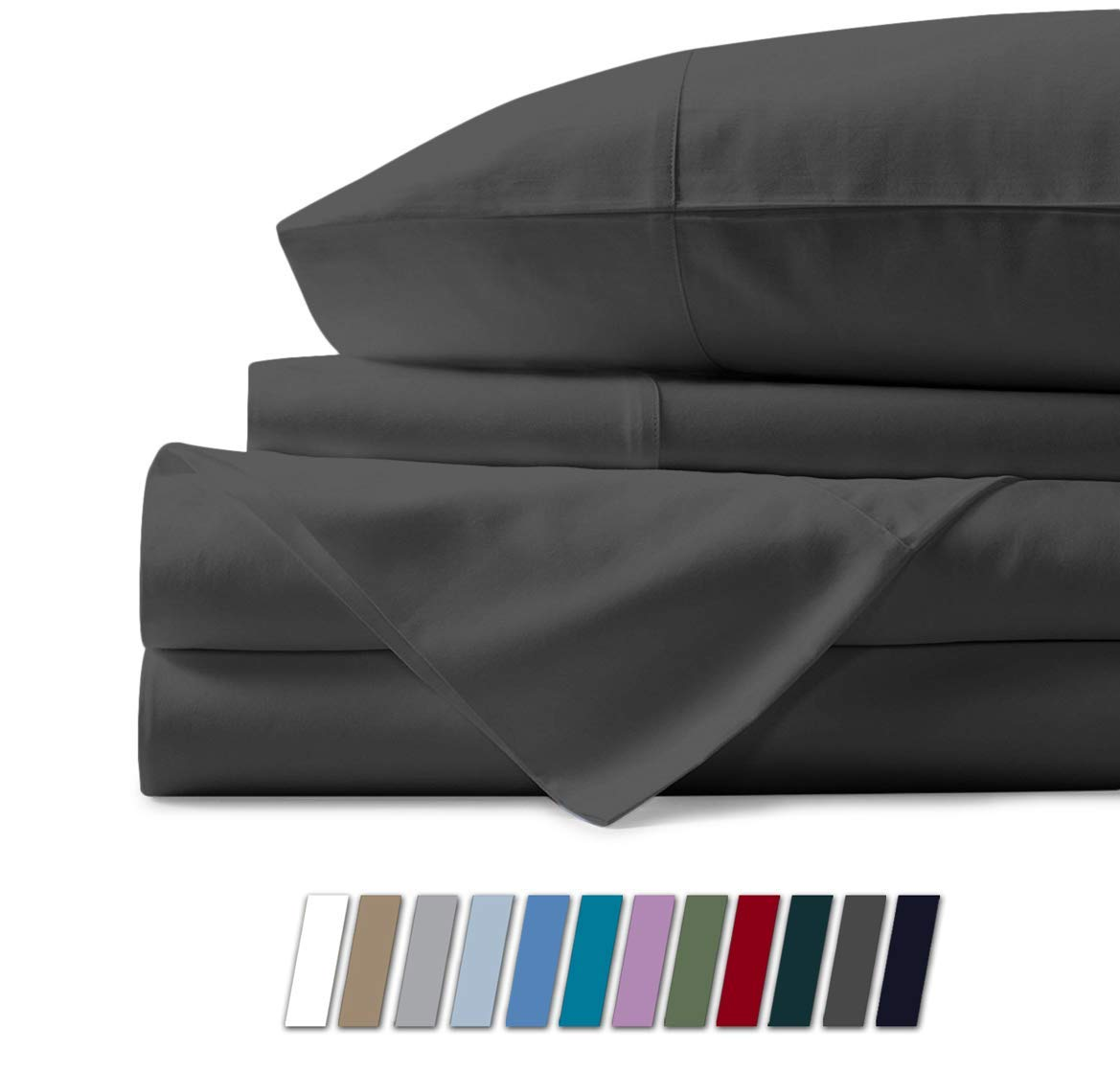 Mayfair Linen 100% Egyptian Cotton Sheets, Dark Grey Queen Sheets Set, 800 Thread Count Long Staple Cotton, Sateen Weave for Soft and Silky Feel, Fits Mattress Upto 18'' DEEP Pocket