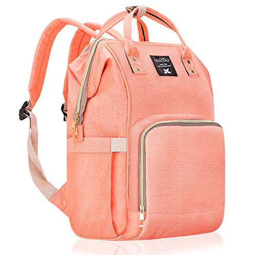 Diaper Bag Multi-Function Waterproof Travel Backpack Nappy Bags for Baby Care, Large Capacity, Stylish and Durable, Mom Bag by Lifecolor (Orange Pink)