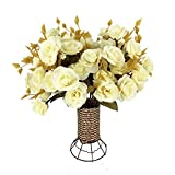 Garwarm 4 Branch 56 Heads Artificial Silk Fake Flowers Leaf Rose Wedding Home Office Floral Decor Bouquet with Iron Vase,(White)