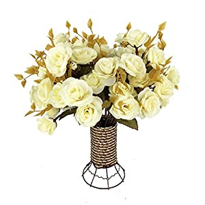 Garwarm 4 Branch 56 Heads Artificial Silk Fake Flowers Leaf Rose Wedding Home Office Floral Decor Bouquet with Iron Vase 70