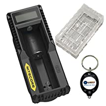 BUNDLE: Nitecore UM10 USB Li-ion Battery Charger For 18650/18490/18350/17670/17500/16340/14500/10440 w/ 1x 18650 Battery CASE and Lightjunction Keychain Light