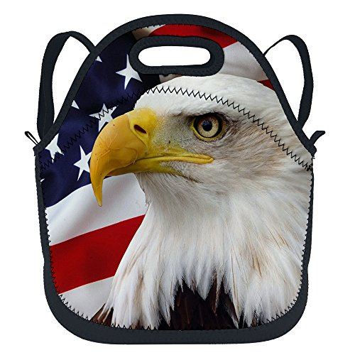 oFloral American Eagle Waterproof Insulated Neoprene Lunch Bag Tote Outdoor Travel Picnic School Lunchbox Backpack with Shoulder Strap for Children Kids Teens Women Men Girls Adults Blue White Red