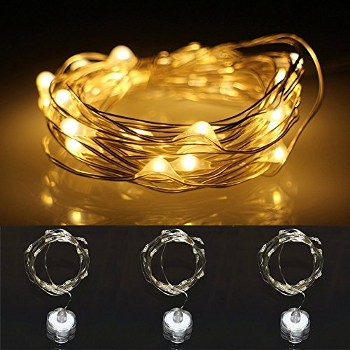 LXS Battery Operated Waterproof Season String Lights 3 Sets of 2M/20 LEDS For Christmas Wedding Party,Amazingly Bright - Ultra-thin Flexible Easy to Wrap Silver Wire,Fairy Light Effect(Warm White)