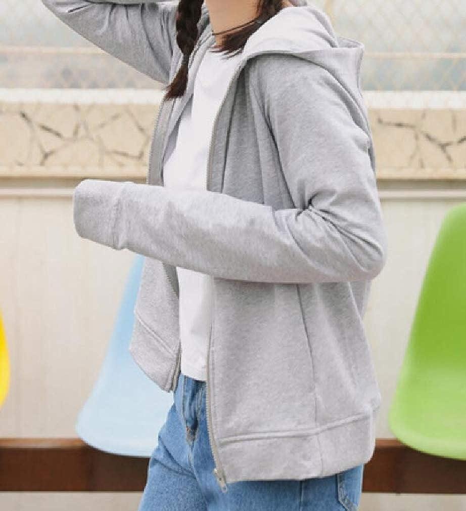 Hajotrawa Womens Zipper Casual Hooded Sport Long Sleeve Sweatshirt