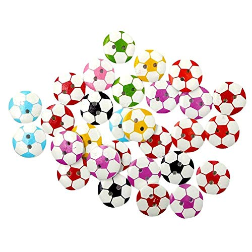 AKOAK 50 Pack 20MM 2-Hole Mixed Round Shaped Soccer Painted Wooden Buttons Wood Sewing Buttons DIY Scrapbooking Clothe Buttons