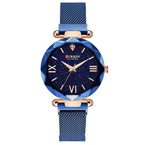 Women Watches,CURREN Quartz Analog Calendar,Wrist Watch for Women, Fashion Waterproof Stainless Steel Band-Black