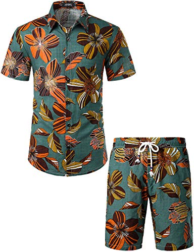 JOGAL Men's Flower Casual Button Down Short Sleeve Hawaiian Shirt Suits (Green Vintage, Large)