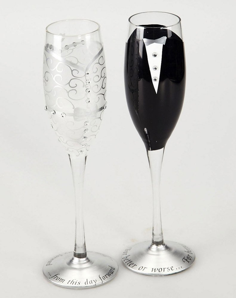 """Cypress Home Hand-Painted 8 oz. Bride and Groom Wedding Champagne Toasting Flute Glasses, Set of 2 - Metallic Accents - 6.75""""W x 4""""D x 11""""H"""