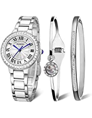 MAMONA Women's Watch Bracelet Gift Set Crystal Accented Ceramic/Stainless Steel L68008GT