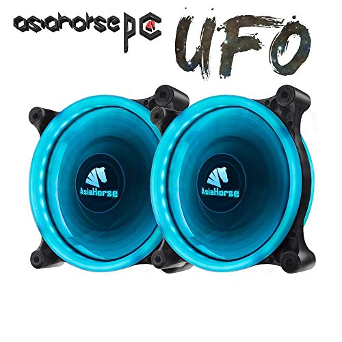 Asiahorse Solar Eclipse UFO120mm Dual Aperture LED Long Life Case Fan,PC Custom DIY from Water Cooling System CPU Cooler 2PACK(ice Blue) by ASIAHORSE