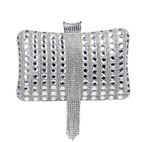 Sacs KYS Femmes Bonbons Mode Pochette Couleur Main De Sac Mariage Métal Perlé Gland Soirée Diamants Messenger silver De À ErwxEvq