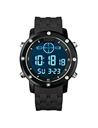 INFANTRY Men's Military Luminous Digital Wrist Watch Black Silicone Rubber Strap Electronic LCD Display