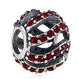 Wave CZ Crystals 925 Sterling Silver Bead fits European Brand European Charm Bracelets