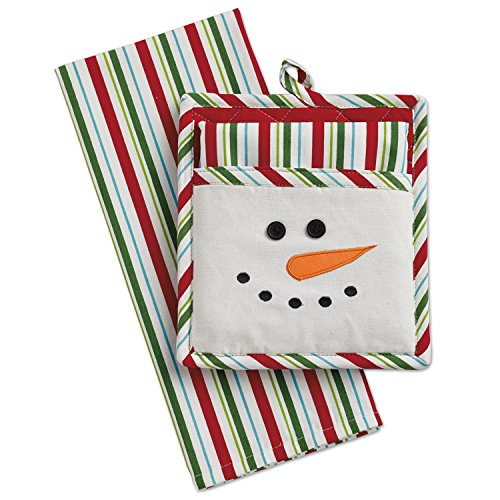 DII Cotton Christmas Holiday Dish Towel and Pot Holder Gift Set, Perfect for       Kitchen Cooking and Baking-Snow Man