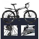 GASLIKE-Mountain-Bike-per-Adulti-Bicicletta-Pieghevole-Telaio-in-Acciaio-ad-Alto-tenore-di-Carbonio-Biciclette-MTB-a-Sospensione-Completa-Doppio-Freno-a-Disco-Pedali-in-PVC